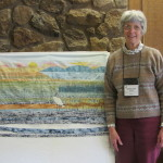 Barbara with her 'Haiku' stork quilt