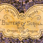 This butterfly shaped label was created for my collage butterfly quilt and goes beyond a standard rectangular 'business card' type of label