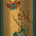 This quilt is formatted in the style of traditional Japanese Art scrolls.