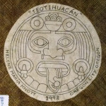 I made this label for my Aztec Sun Calendar quilt. The graphic design is the central figure from the stone carving that was the inspiration for the quilt.