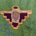 Jane's Thunderbird - notice how thoroughly she has covered the area with stitches, it looks like a tapestry.