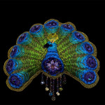 Embroidered Folk Art Peacock