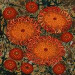 Stumpwork Sea Anemones - Orange Variation Detail