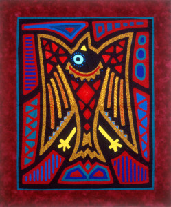 Handstitched Mola from a Peruvian motif of a crow