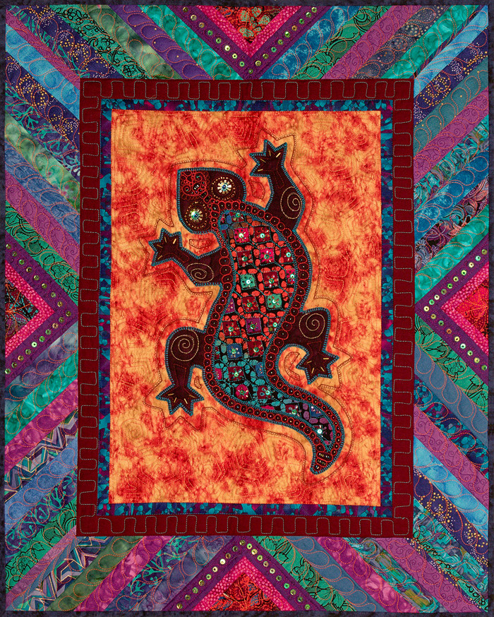 Lizard Totem with a Bold Over Batik insert fabric