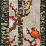 Winter Feast - a Nature Scroll featuring fussy cut birds feasting on winter berries