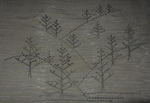 Sashiko Trees, rendered on a piece of  antique Kimono silk