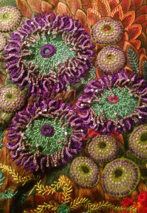 Tide Pool quilt - Stumpwork 'Sea Anemones'
