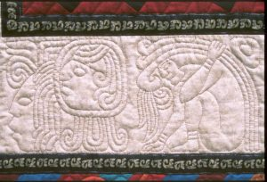 Aztec and Mayan designs rendered as hand quilting