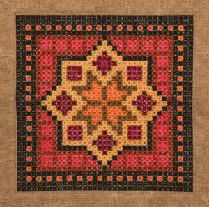 A Caucasus inspired medallion embroidered in Algerian Eye Stitch