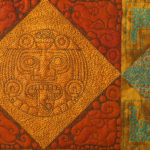 Detail of a block quilted in an Aztec theme