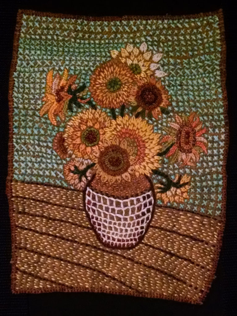 Van Gogh's Sunflowers improvised with thread.