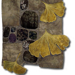 Lovely ruffled Ginko leaves grace a nature quilt