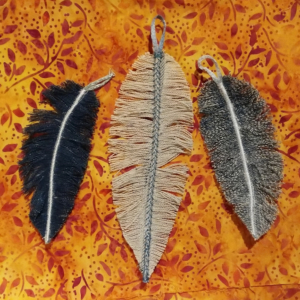 Feathers made from shredded denim