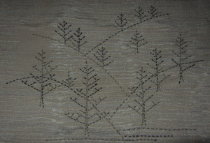Sashiko Trees, rendered on a piece of  antique Kimono silk
