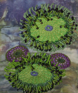 Stumpwork Sea Anemones of=n hand-dyed canvas