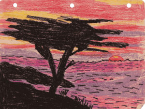 Carmel Sunset, crayon drawing. A drive along Carmel Beach was often a weekend treat when I was a child.