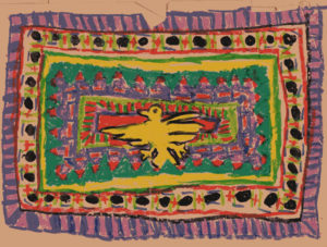 If I remember correctly, this crayon drawing was inspired by seeing Navajo carpets. I think I was about 6 years old at the time.