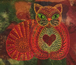 Folk Art cat stitched in the Kantha style