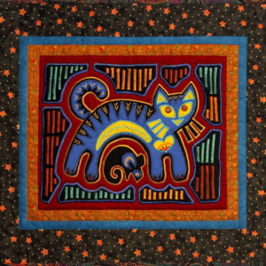 Machine Appliqued Mola with a cat and mouse.